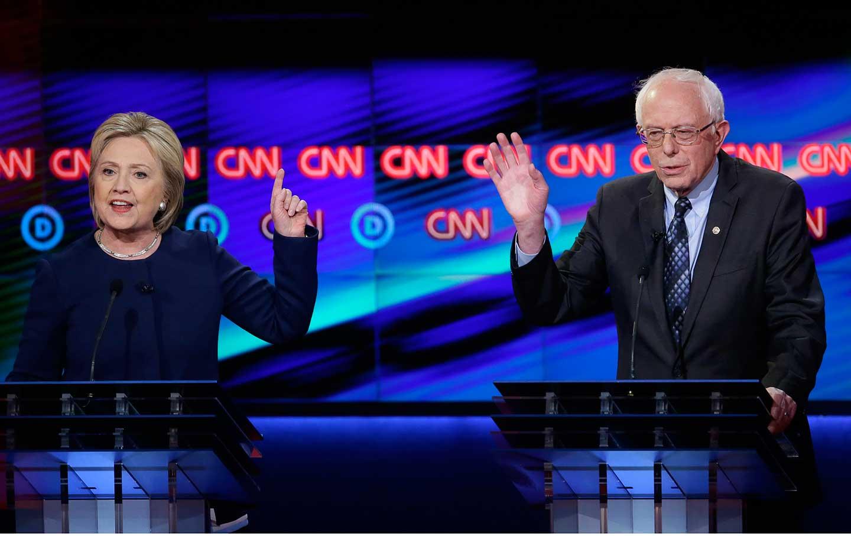 Hillary Clinton and Bernie Sanders Debate in Flint, Michigan, on March 6, 2016.