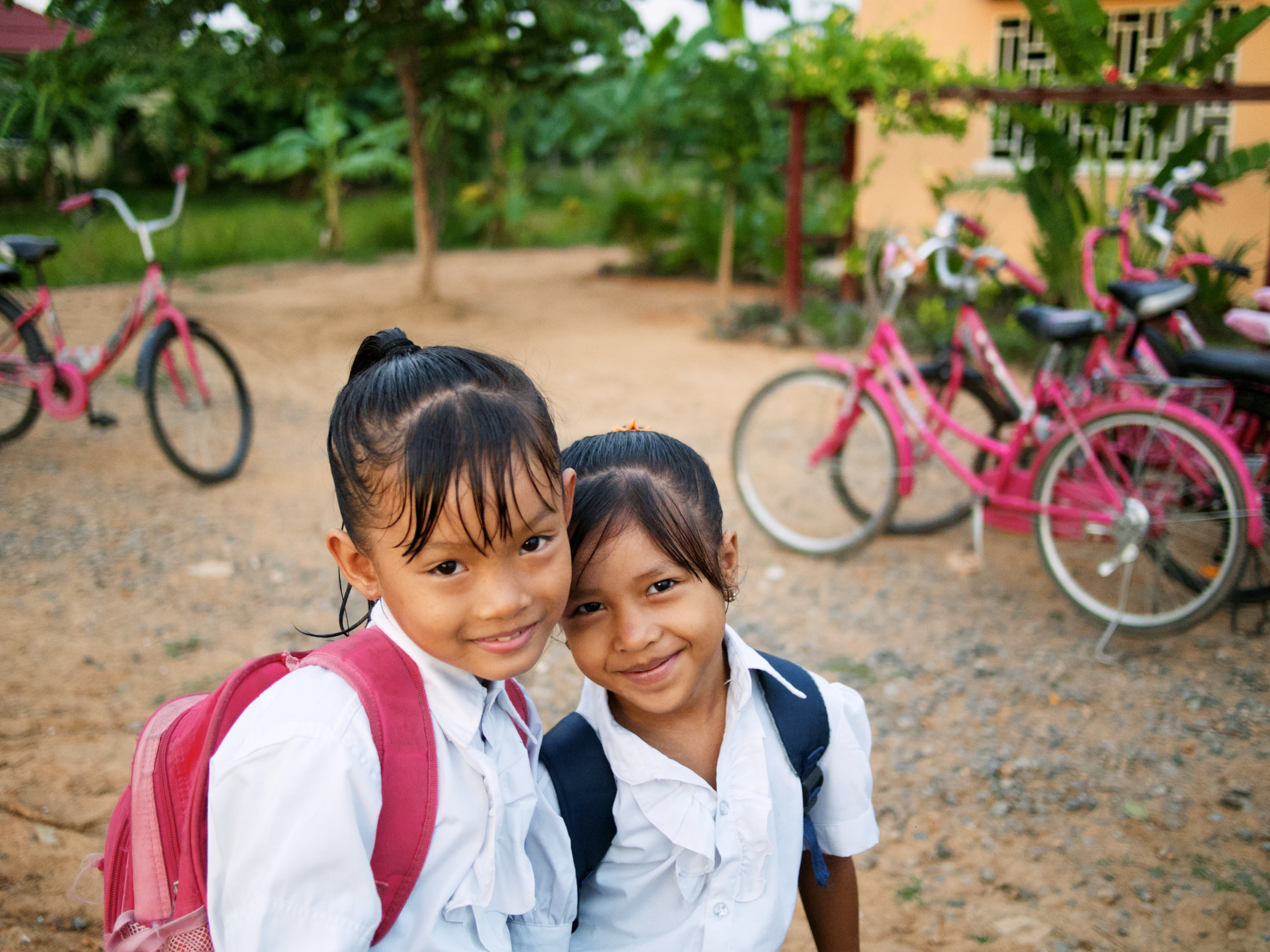Girls at Asia's Hope in Battambang, Cambodia get ready for school.