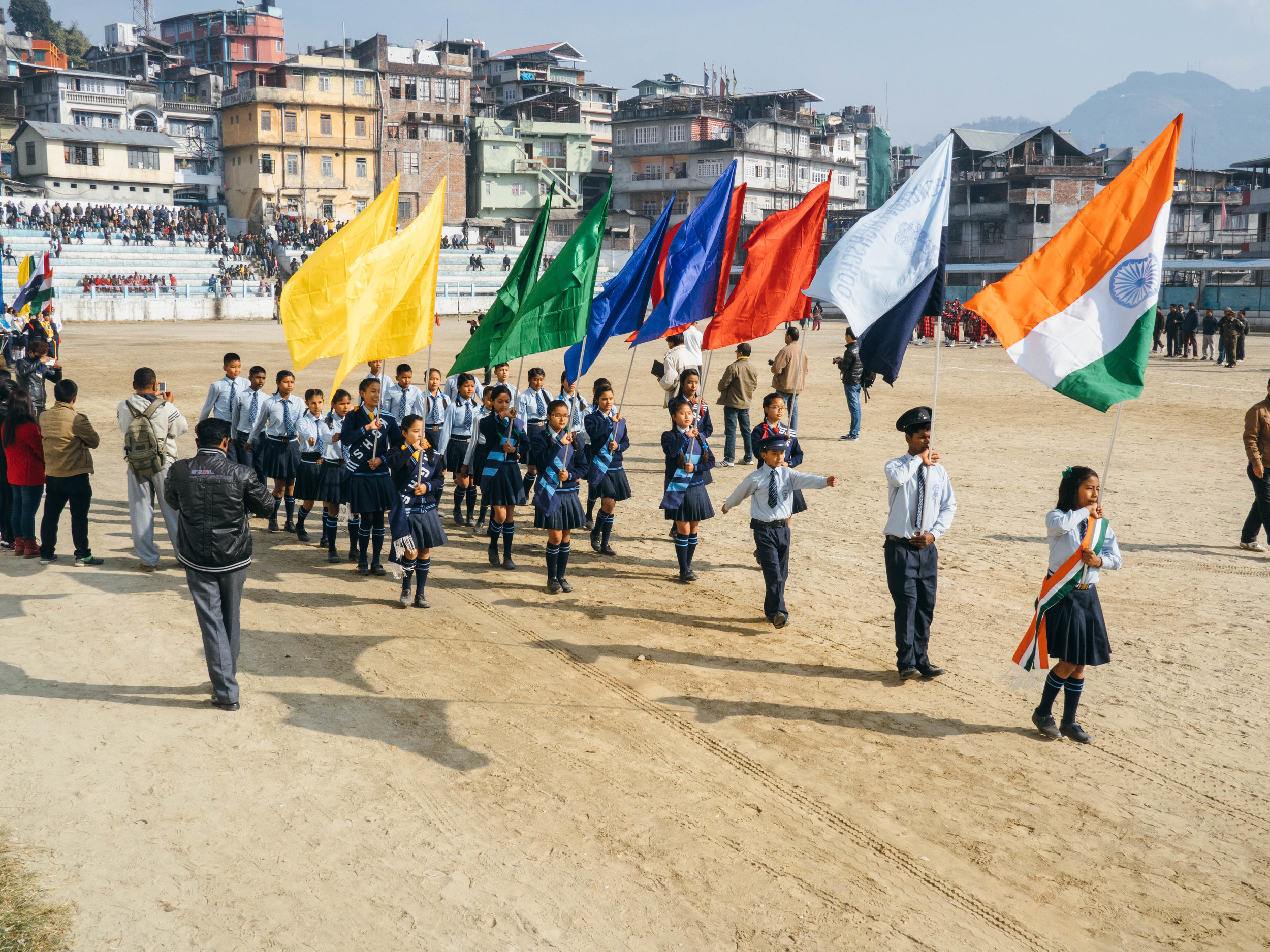 School children join in a parade to celebrate India's Republic Day.