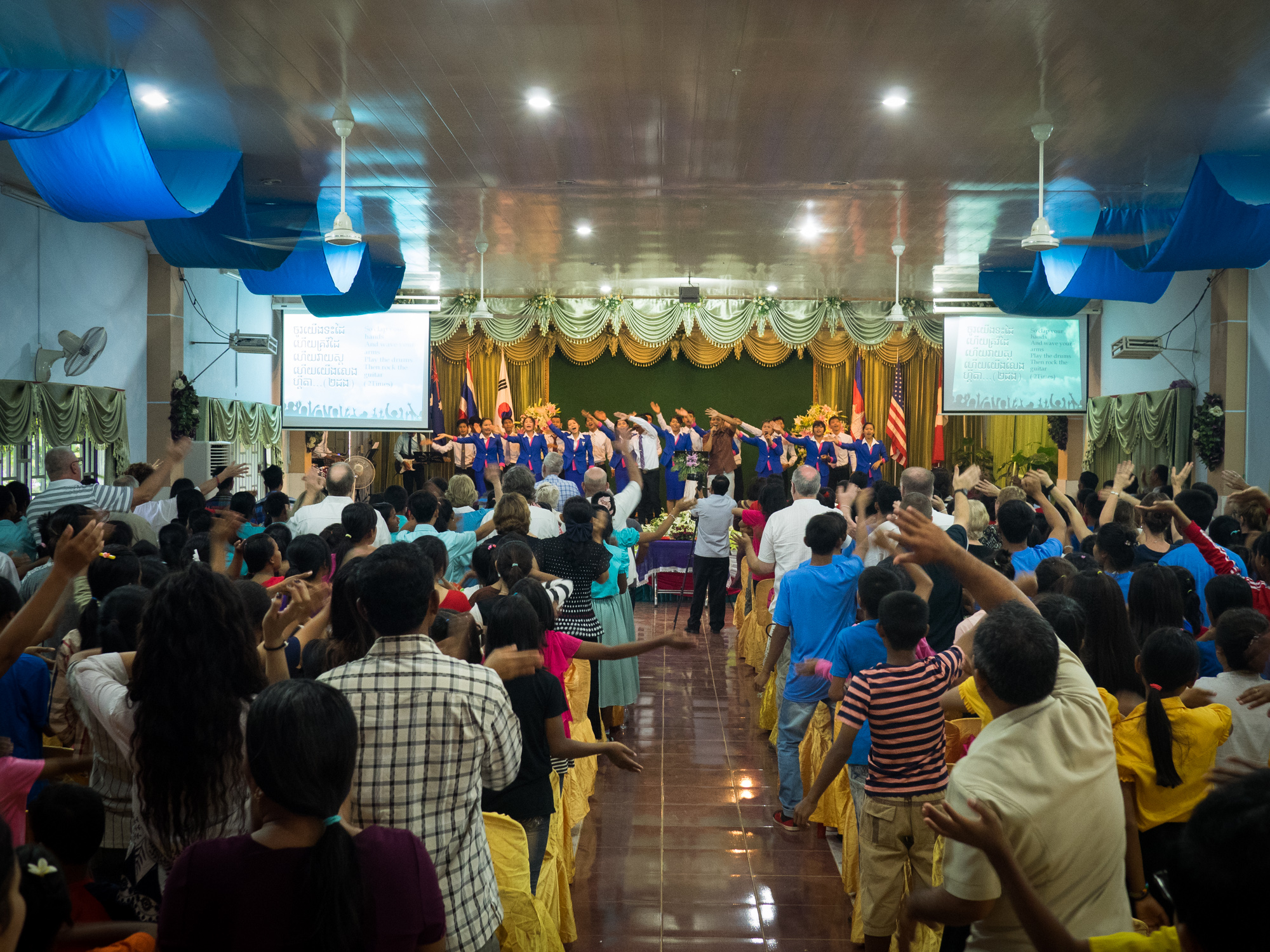 Church with friends and family at Asia's Hope Battambang.
