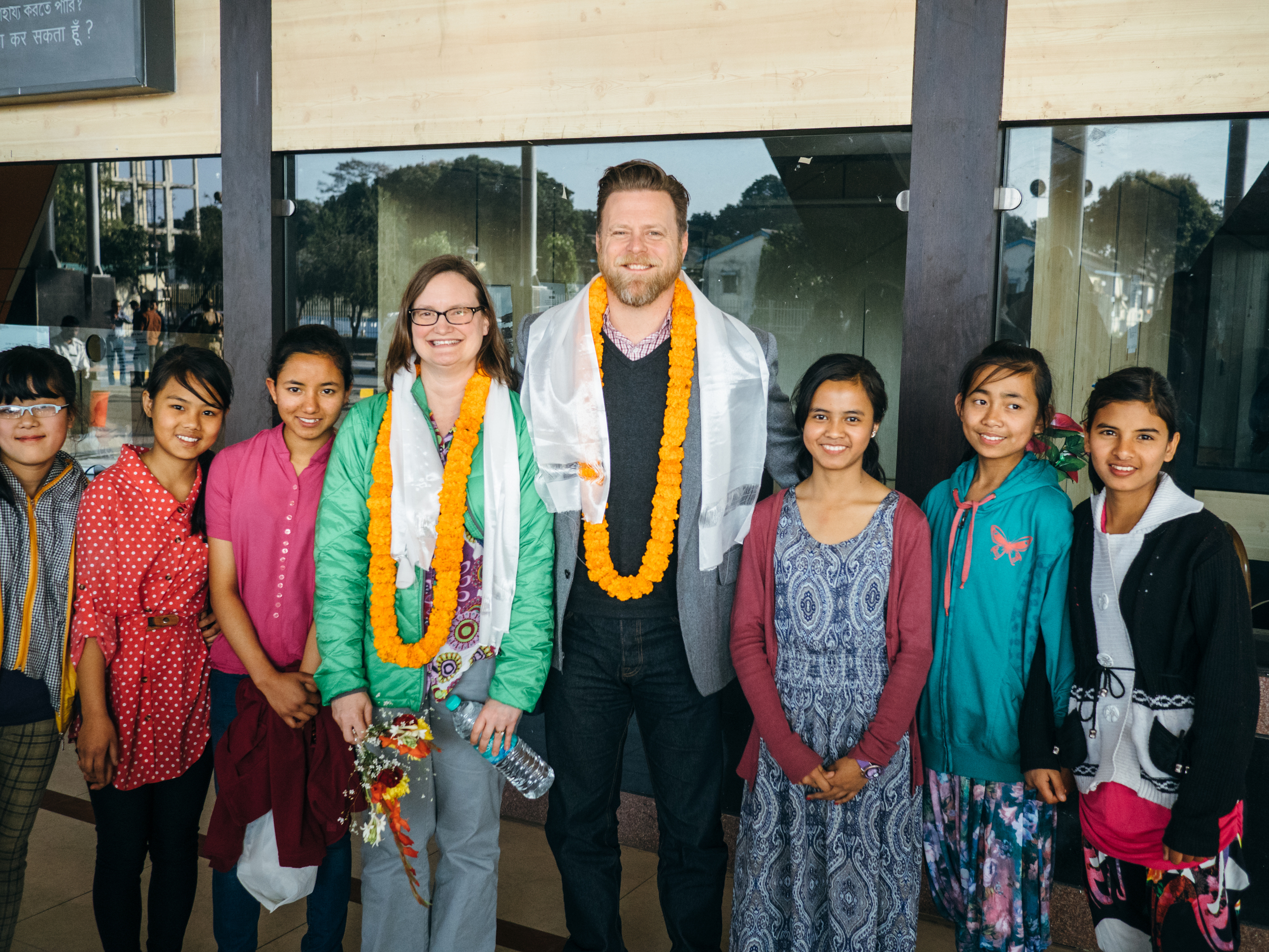 The kids from our Kalimpong 1 (India) homes greeted John and Kori warmly upon their arrival at the Siliguri Airport.