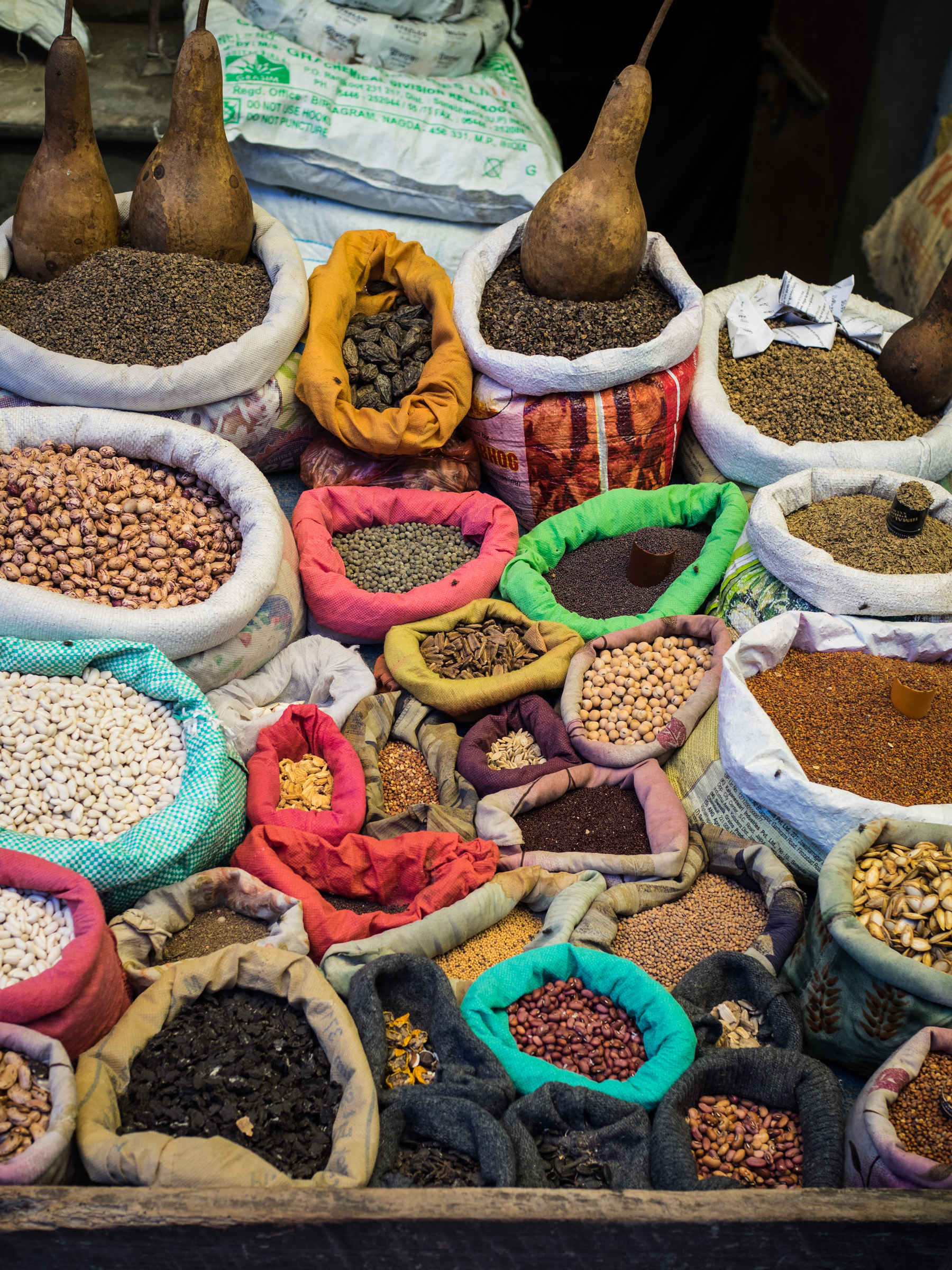 Spices for sale in the Kalimpong market.