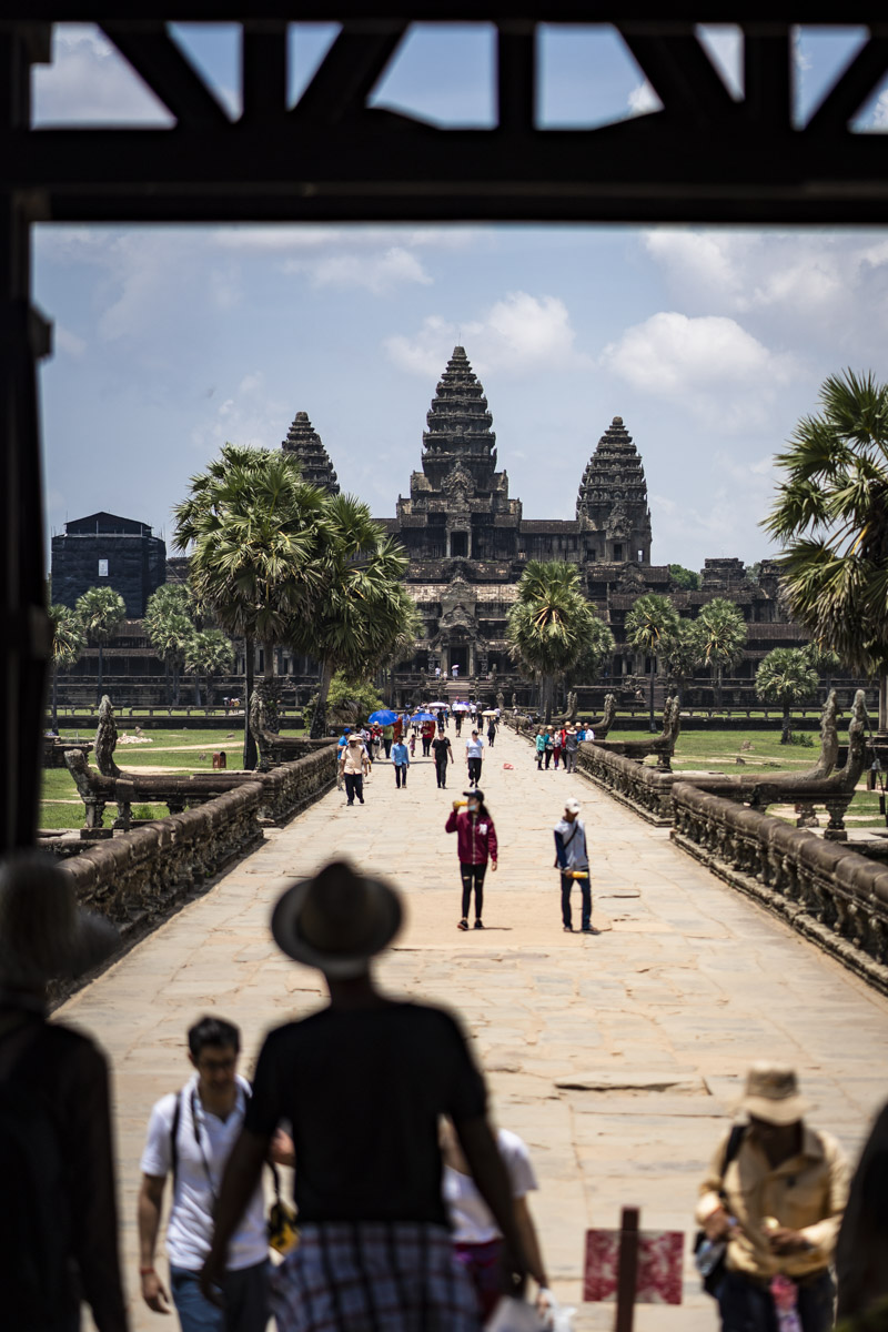 Angkor Wat, viewed from the western gate, just inside the moat.