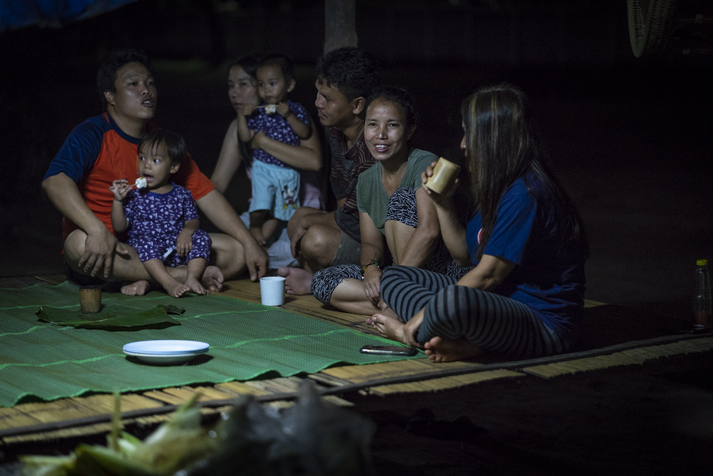 Late night marshmallows and tea with friends under a cabana at our Doi Saket 3 home in Thailand.