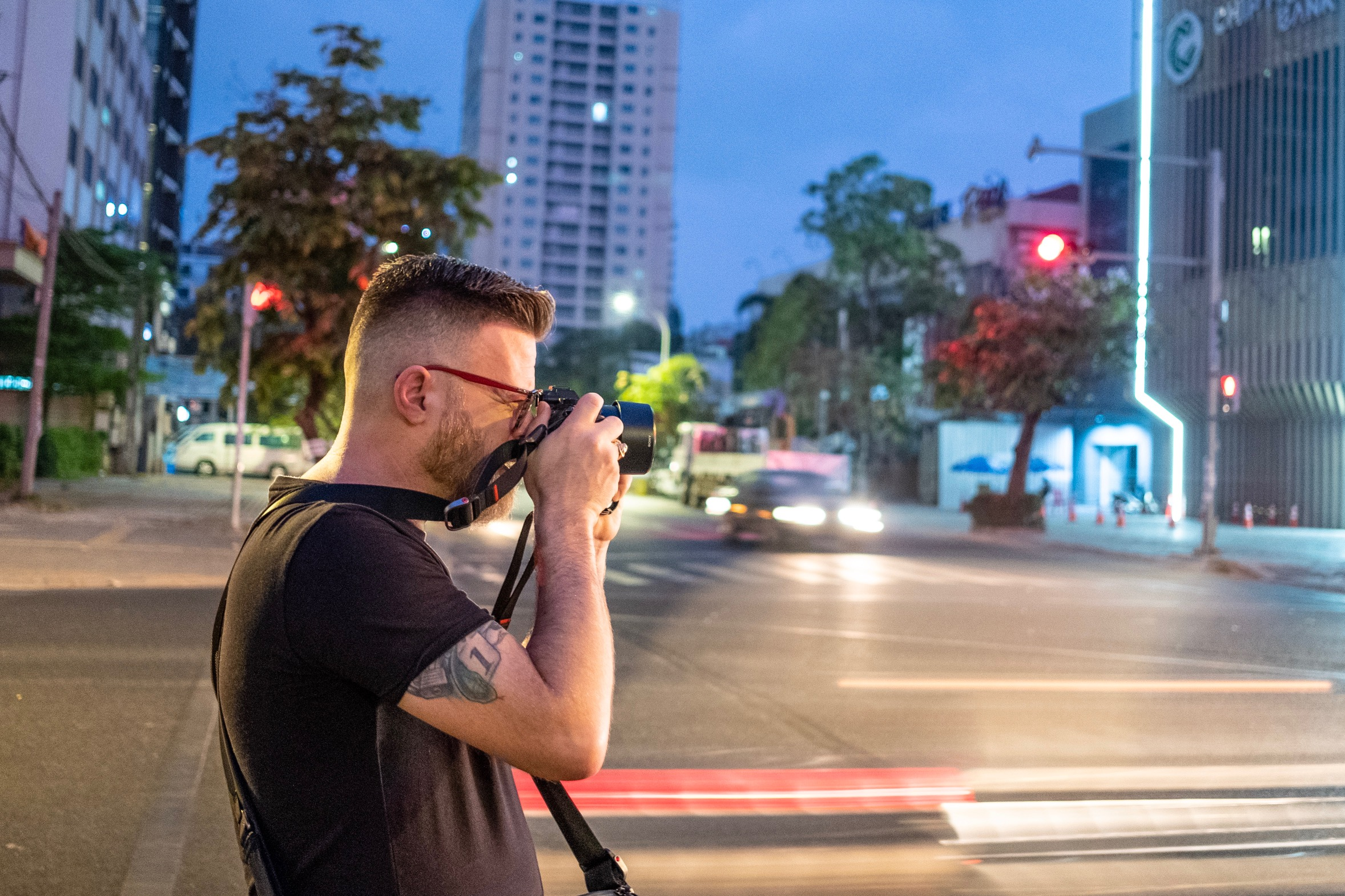 Me, up early taking photos around Phnom Penh.