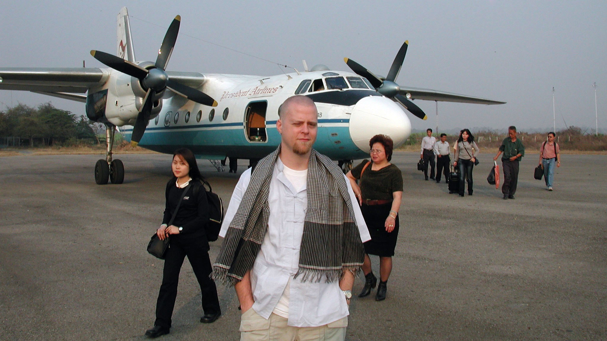 Me, disembarking at the Battambang, Cambodia airport, circa 2002