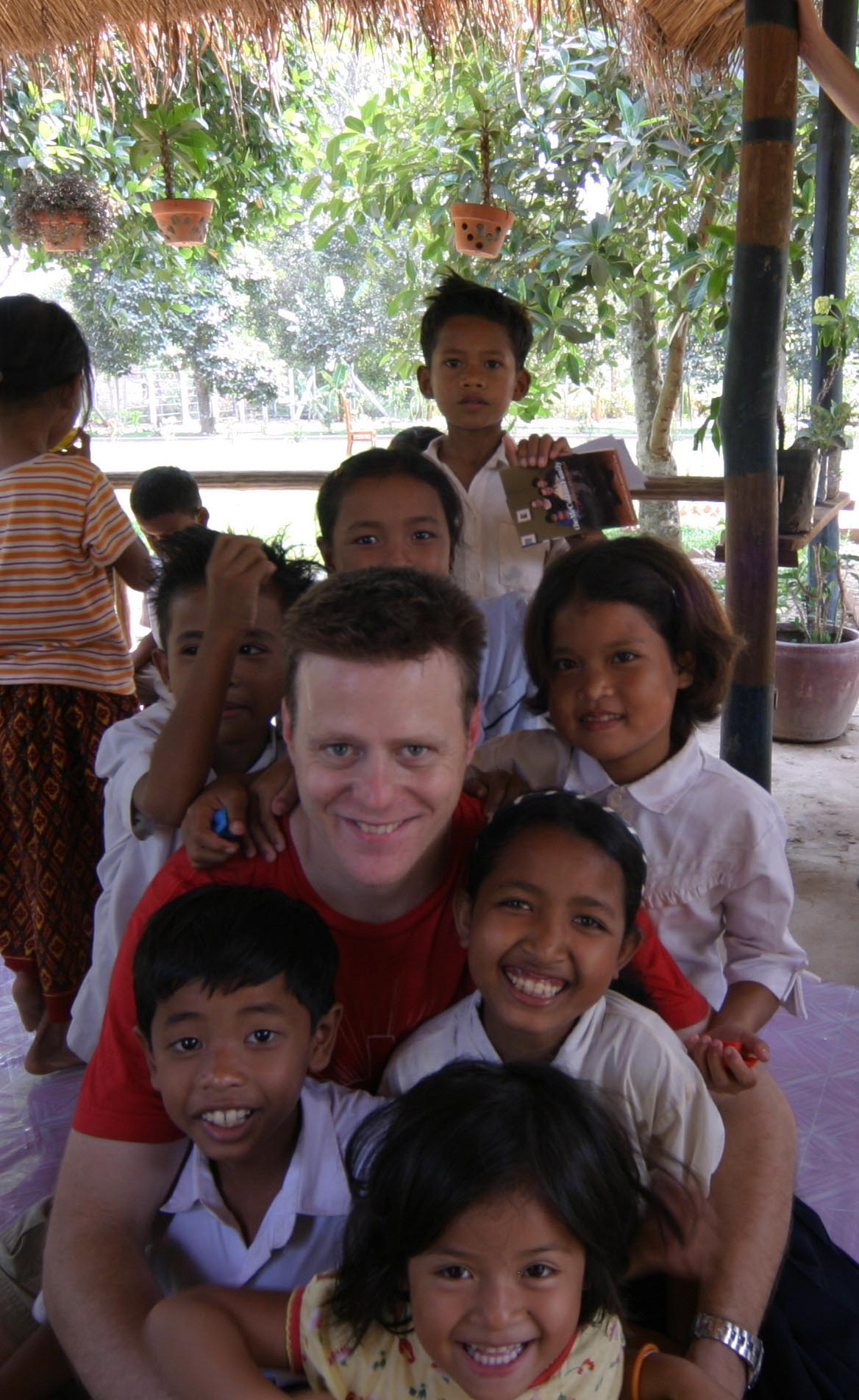 Me in February 2005 with the kids from our first home in Phnom Penh, the one that would eventually be known as  Prek Eng 1.