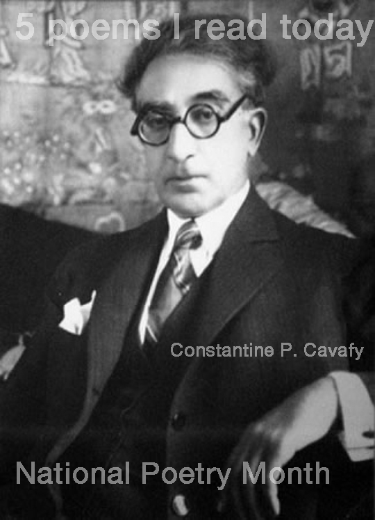 1. The City  by Constantine Cavafy  http://bit.ly/h34VZC    2. A Song On the End of the World  byCzeslaw Milosz http://bit.ly/hRO80G    3. Dear Friend  by Dean Young  http://bit.ly/gH3VZw    4. [under the evening moon]  by Kobayashi Issa  http://bit.ly/fcFMbB    5. The Glass Essay  by Anne Carson  http://bit.ly/eyY8C3