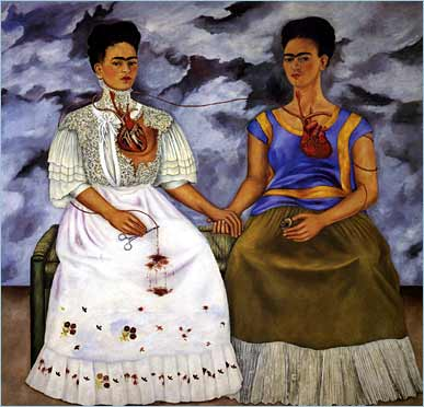 """The Two Fridas, 1939, Oil on canvas, 67"""" x 67"""", Collection of the Museo de Arte Moderno, Mexico City"""