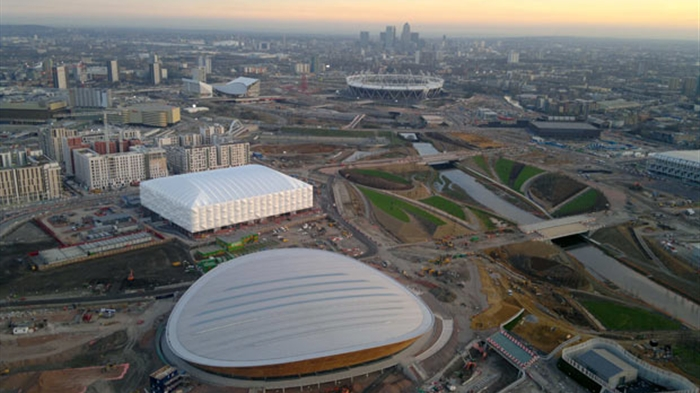 AERIAL VIEW OVER THE OLYMPIC PARK