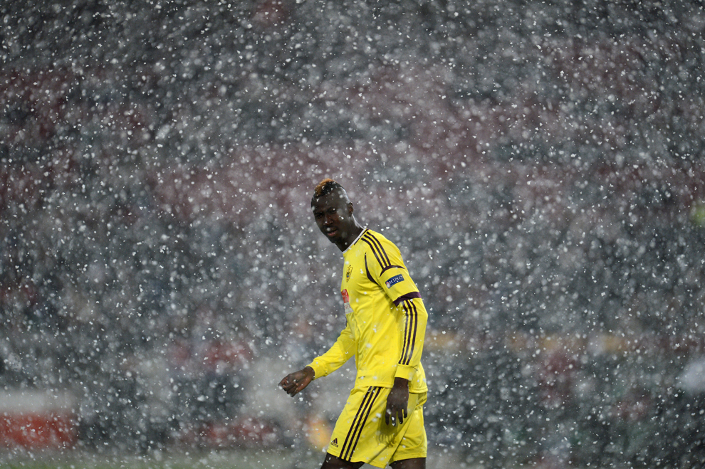 Anzhi Makhachkala's Ivorian striker Lacina Traore in the UEFA Europa League  match against Hannover 96 in Hanover, Germany on February 21