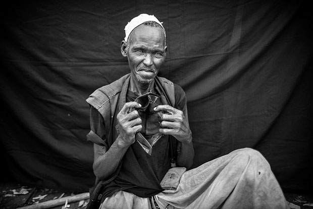 Hasan, who is unsure of his age but imagines himself to be between 60 and 70 years old, Jamam refugee camp in Maban County, South Sudan