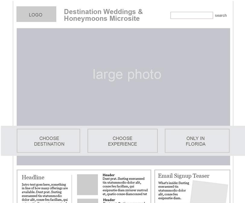 Weddings Microsite Lo-Fi prototype