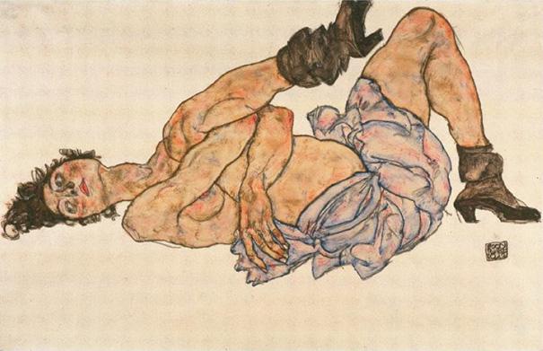 "Egon Schiele ""Reclining Female Nude"""