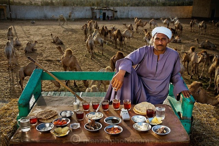 40 years old; 5 feet, 8 inches tall; and 165 pounds, Camel broker Saleh Abdul Fadlallah  outside Cairo, Egypt. 3200 calories.