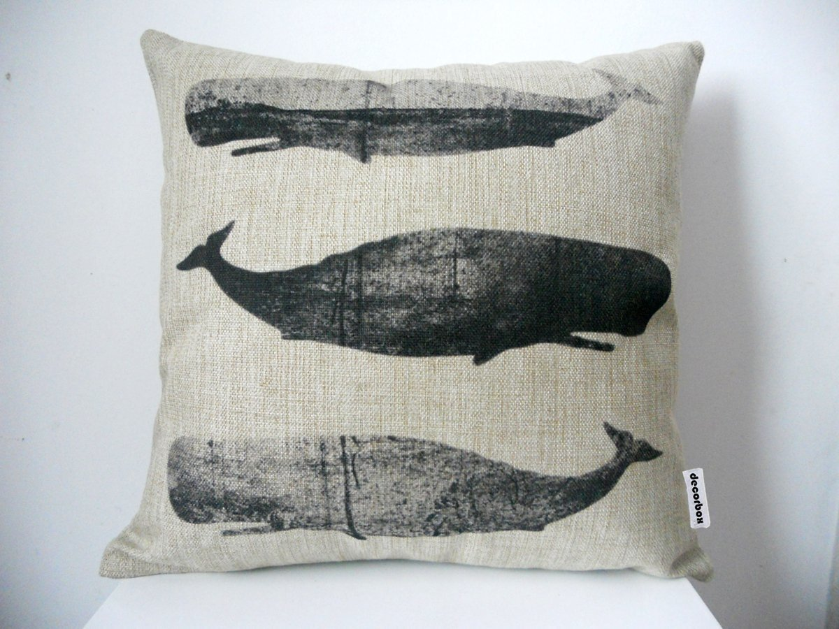 Cotton Linen Square Throw Pillow Cushion Cover Black White Whales 18""