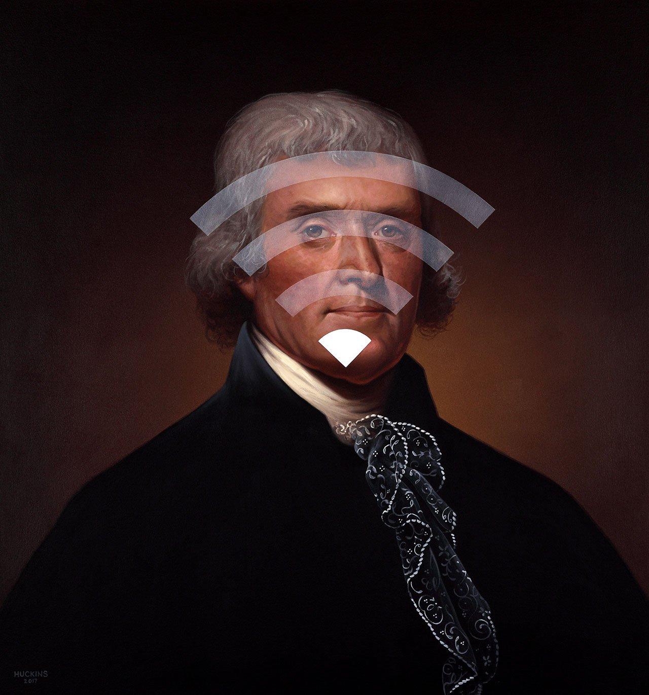 Thomas Jefferson: Panic Four (Spotty WiFi), 2017. Acrylic