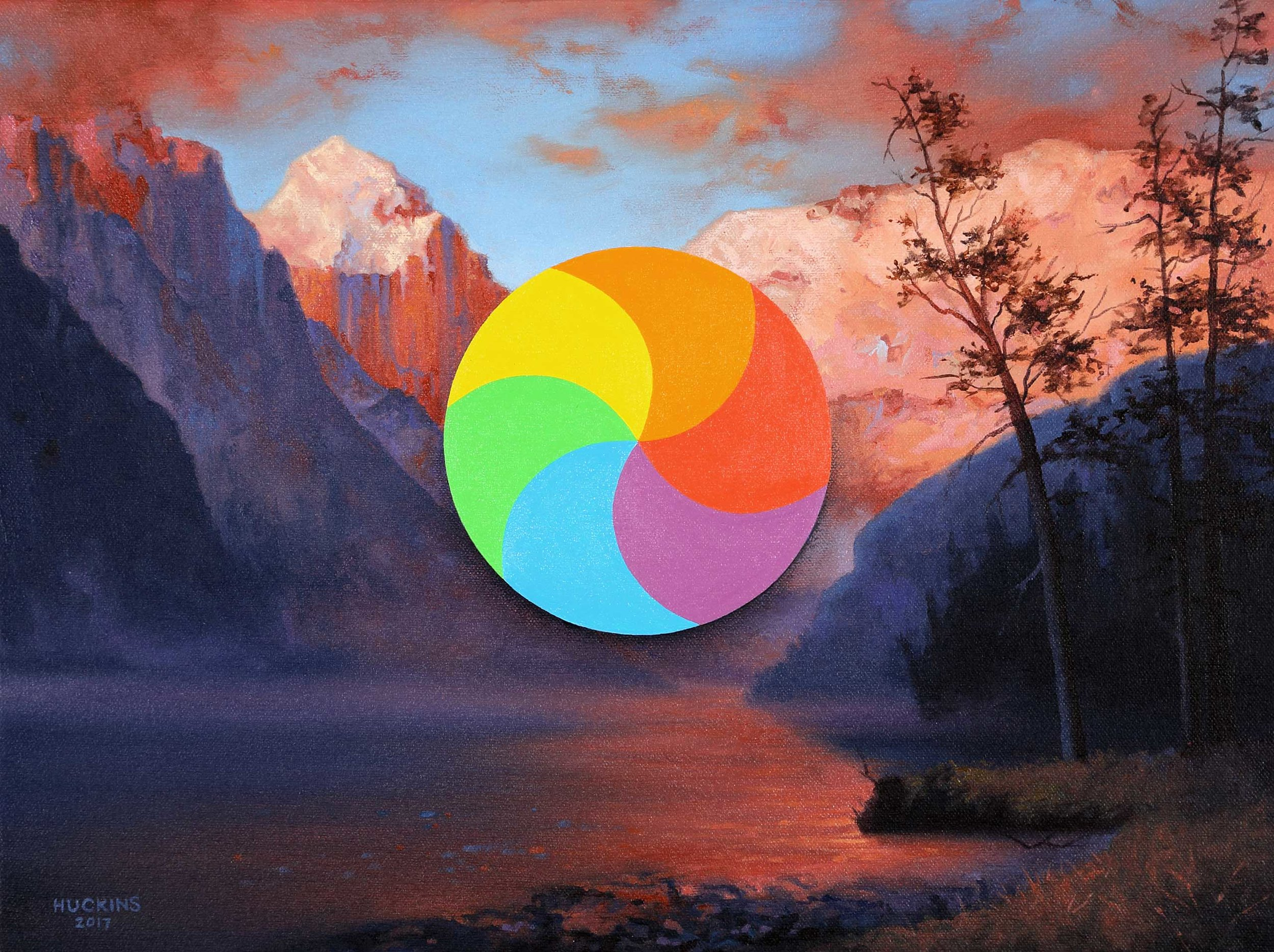 Evening Glow At Lake Louise: Panic Three (Mac Spinner), 2017. Acrylic