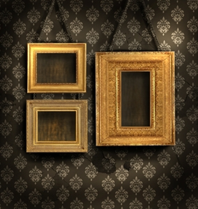 Gold décor pieces are a wonderful complement to brown walls.