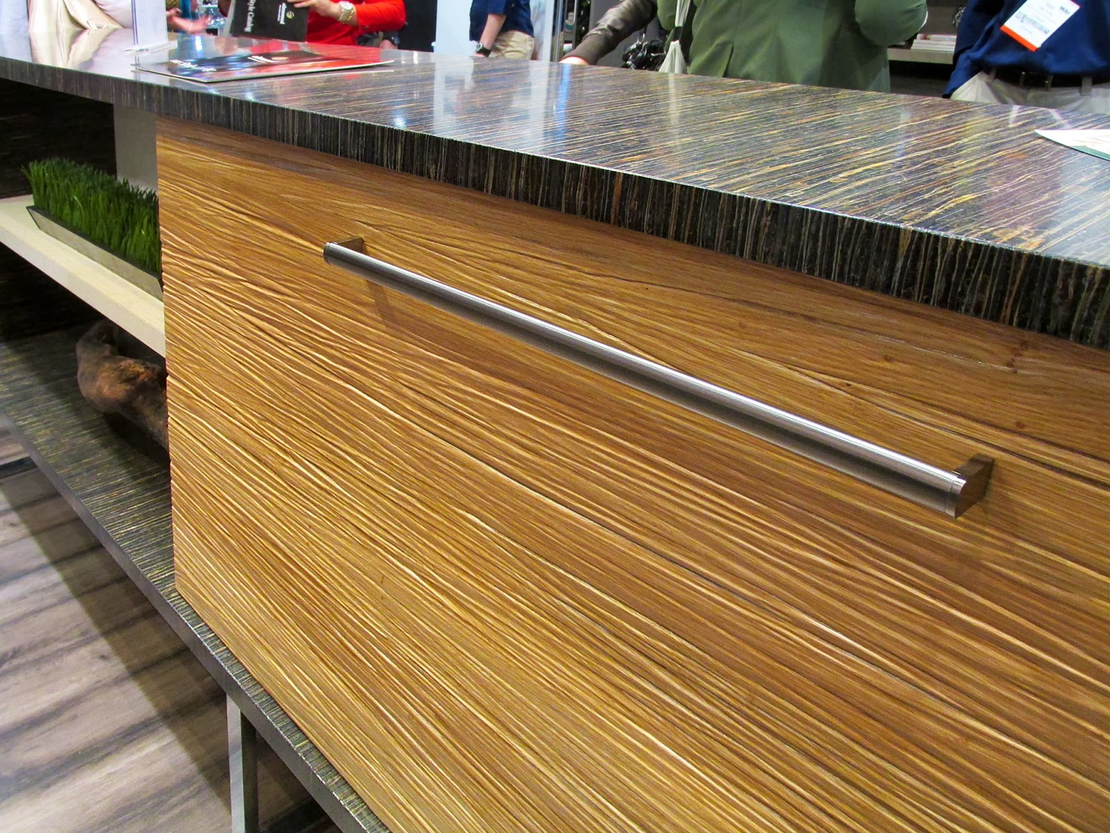 Textured materials are gaining in popularity, as they give an interesting tactile feel to cabinets and furniture.
