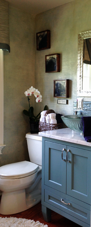 """Canyon Creek Vanity Reverse in Sherwin WilliamsSW6221 Paint. Part of the """"Serene Spa"""" at the Bucks County Designer House."""