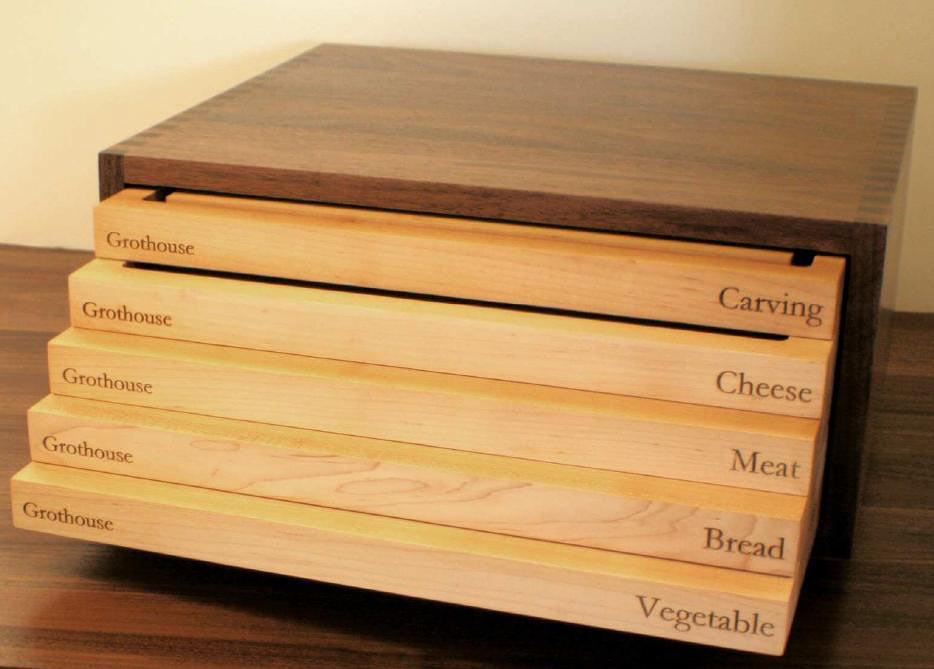 Prestige Chef's Box™ by Grothouse - A classically designed cutting and serving board storage system. Clients can customize the topography of each board based on the intended use. Read on for some of the options ...Learn more >