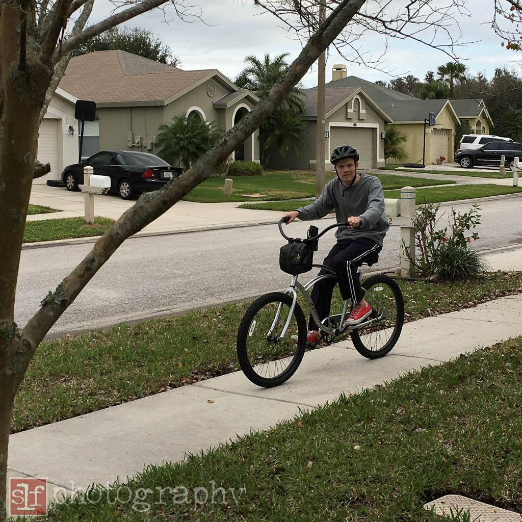 Ryan continues to ride even when it is cold.