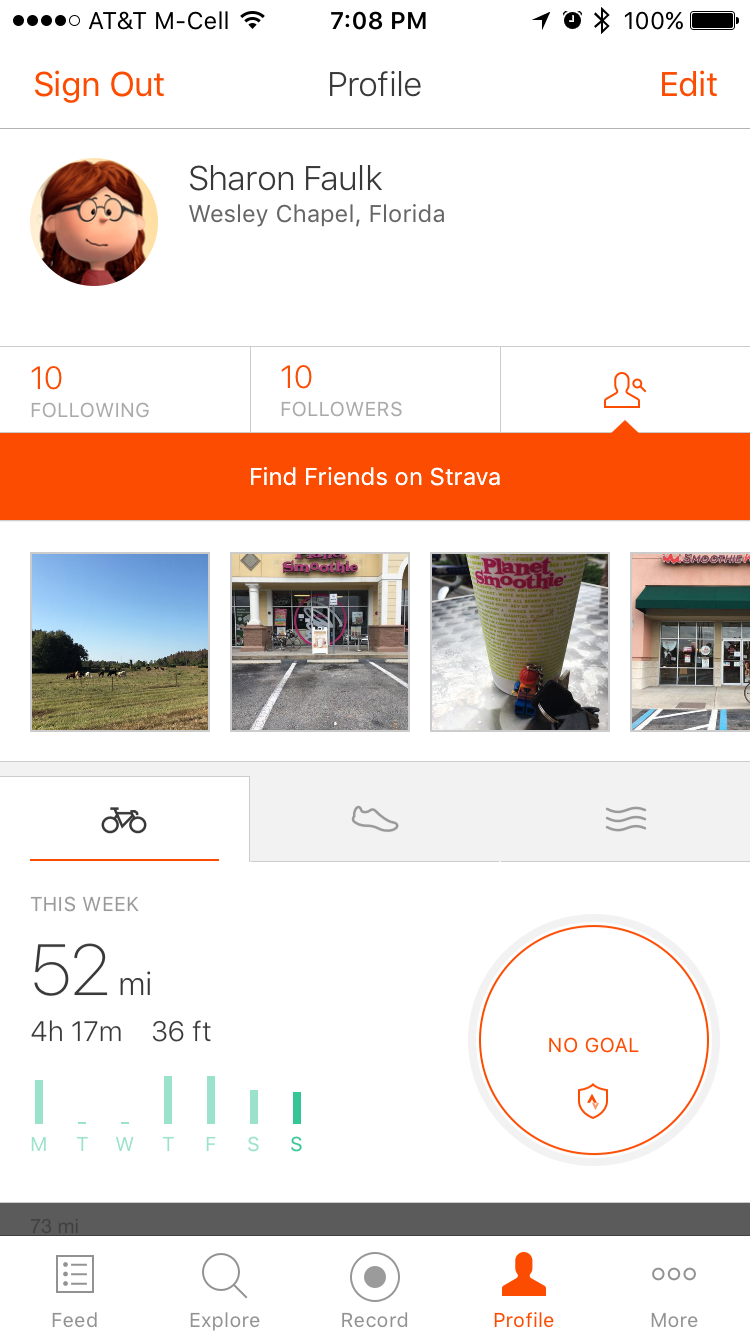 Decent amount of miles despite missing two days of riding.