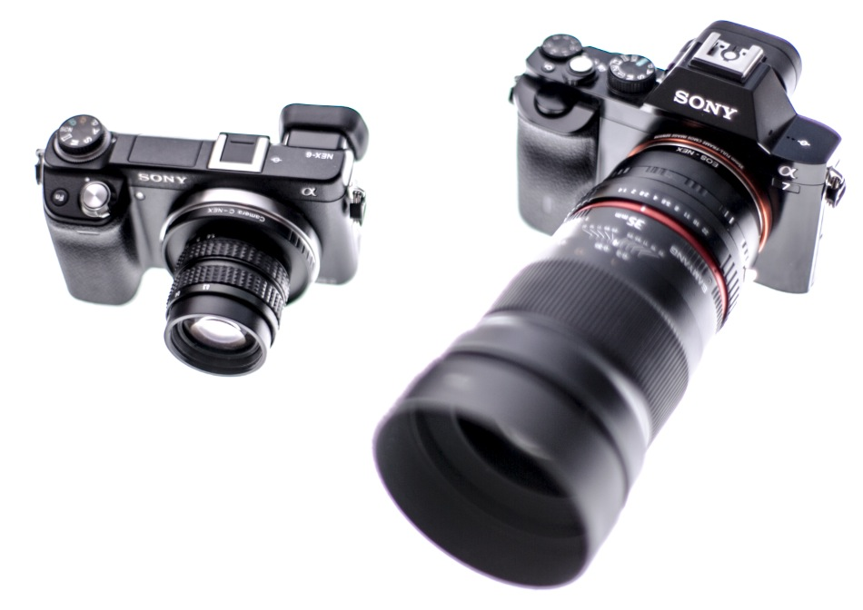 Small lens vs big lens. NEX-6 with the Fujian 35mm f1.7 and the A7 with the Samyang 35mm f1.4