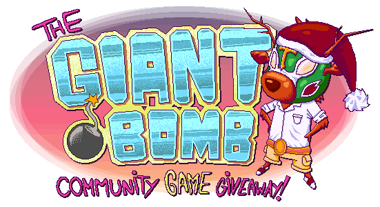 The Giant Bomb Community Game Giveaway banner for December 2nd, 2011 through December 31st, 2011. Designed by Marcelo Ardon (Deusx).