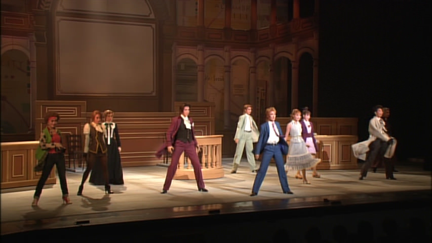 A dance number with the main characters of Phoenix Wright 2.