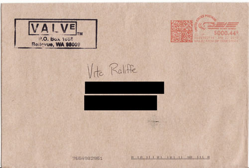 What Valve sent me in return for the Christmas card I mailed them.