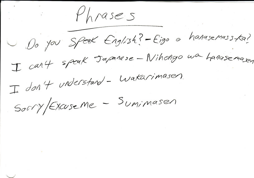 Some useful phrases I wrote down.