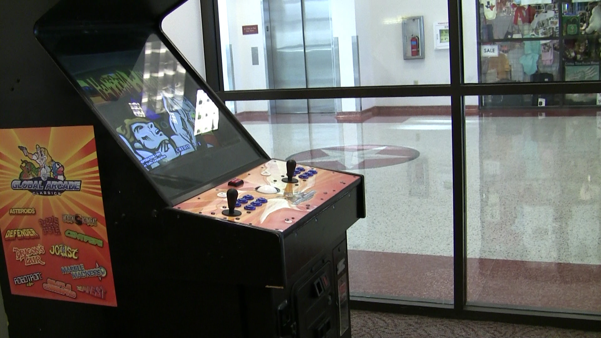 The Global Arcade Classics machine I played Rastan on at the Killeen-Fort Hood Regional Airport in Texas before we got on our flight to Houston.