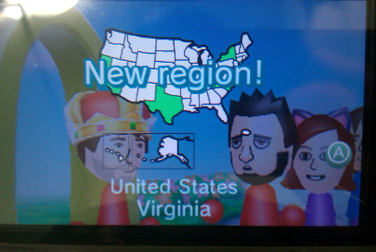 My first StreetPass encounter with someone from Virginia.
