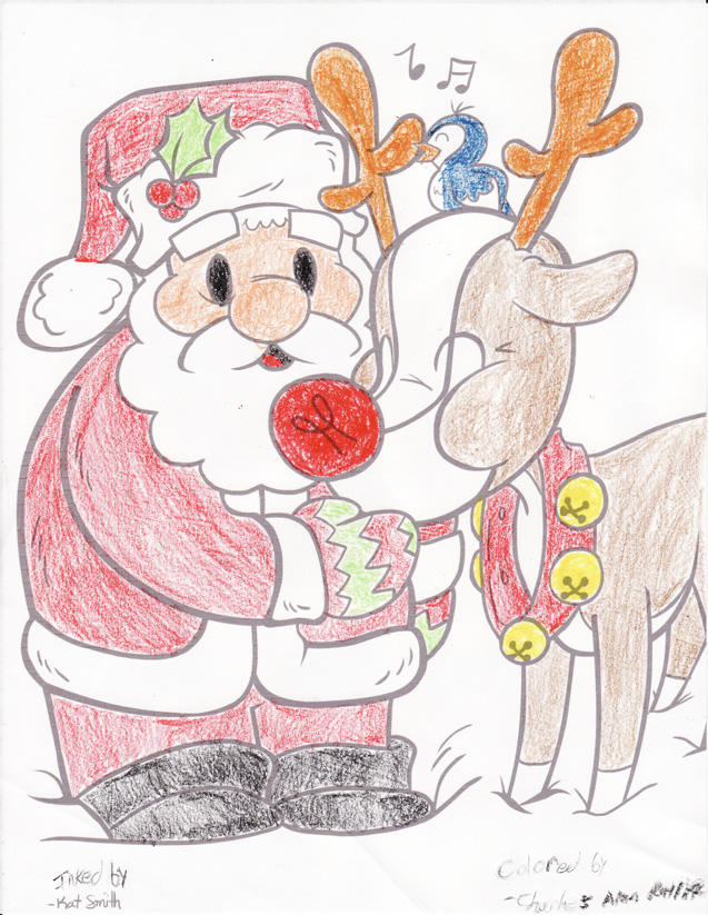 A drawing of Santa Claus by Kat Smith that I colored in.