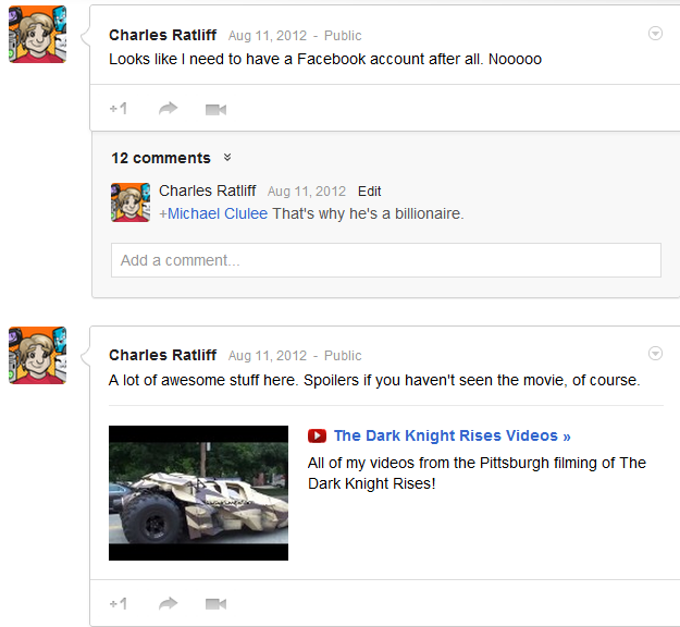 A couple of the Google+ posts I made that day.