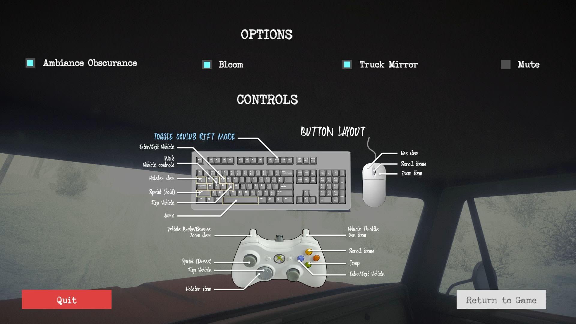 A screencap of Kôna's controls.