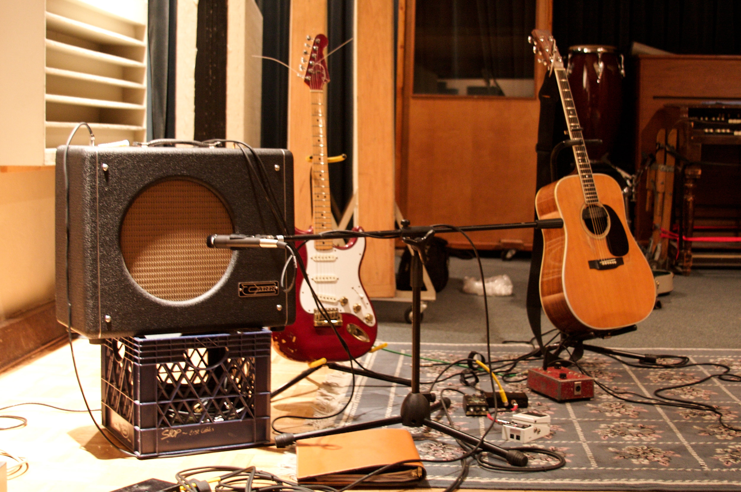 """My Carr Mercury and Fender """"The Strat"""", along with Mike Northcutt's Martin"""