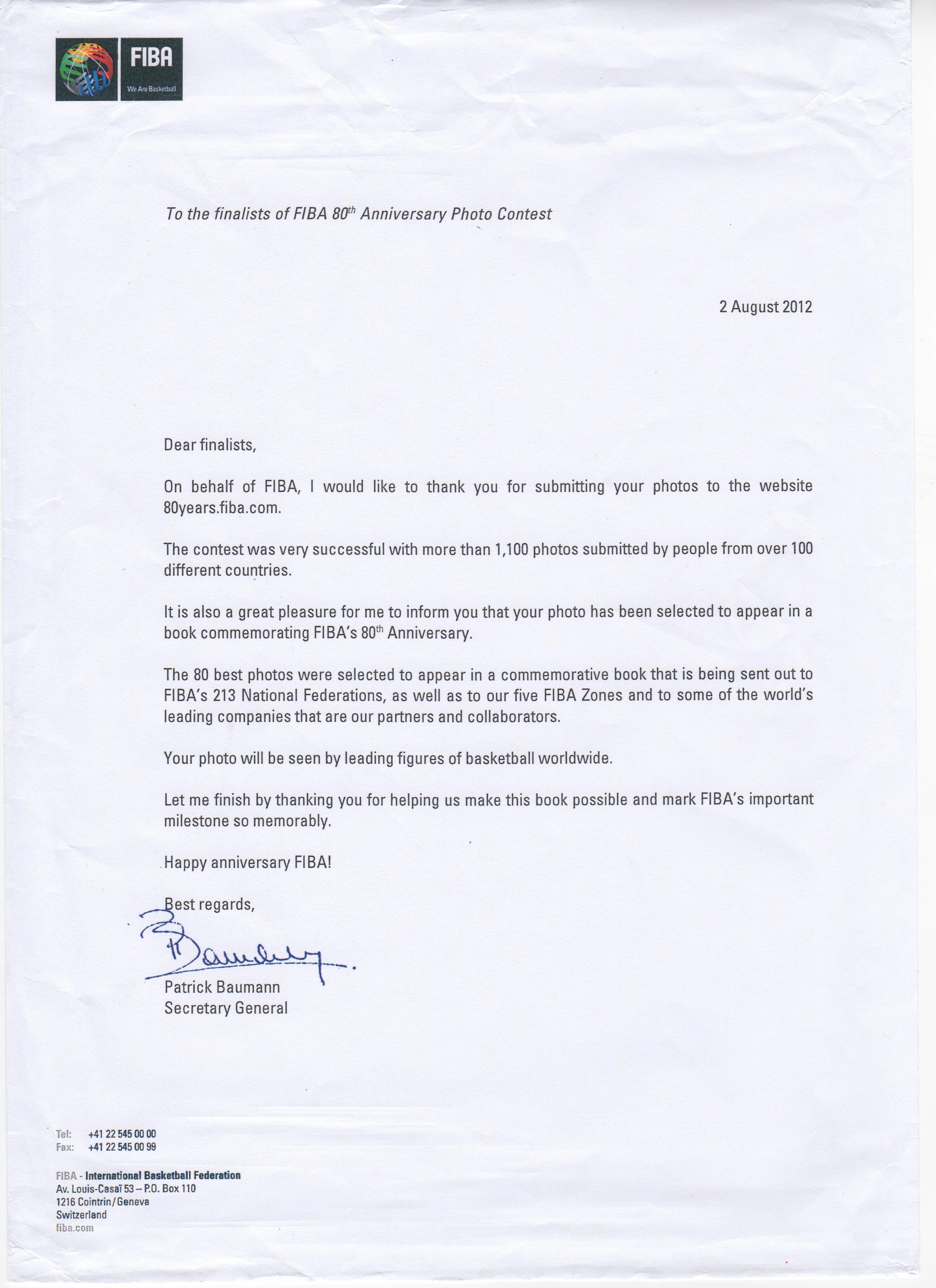 نامه تشکر پاتریک باون برای استفاده عکس من در کتاب یادبود فیبا.