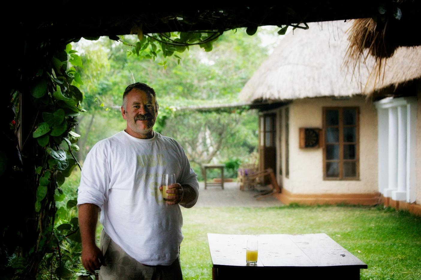 Leo in the welcome area of Ndali lodge