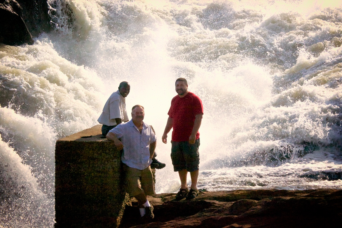 Habib, Leo and I at the top of the Murchison falls.