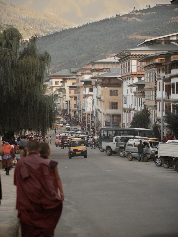The main drag in Thimphu