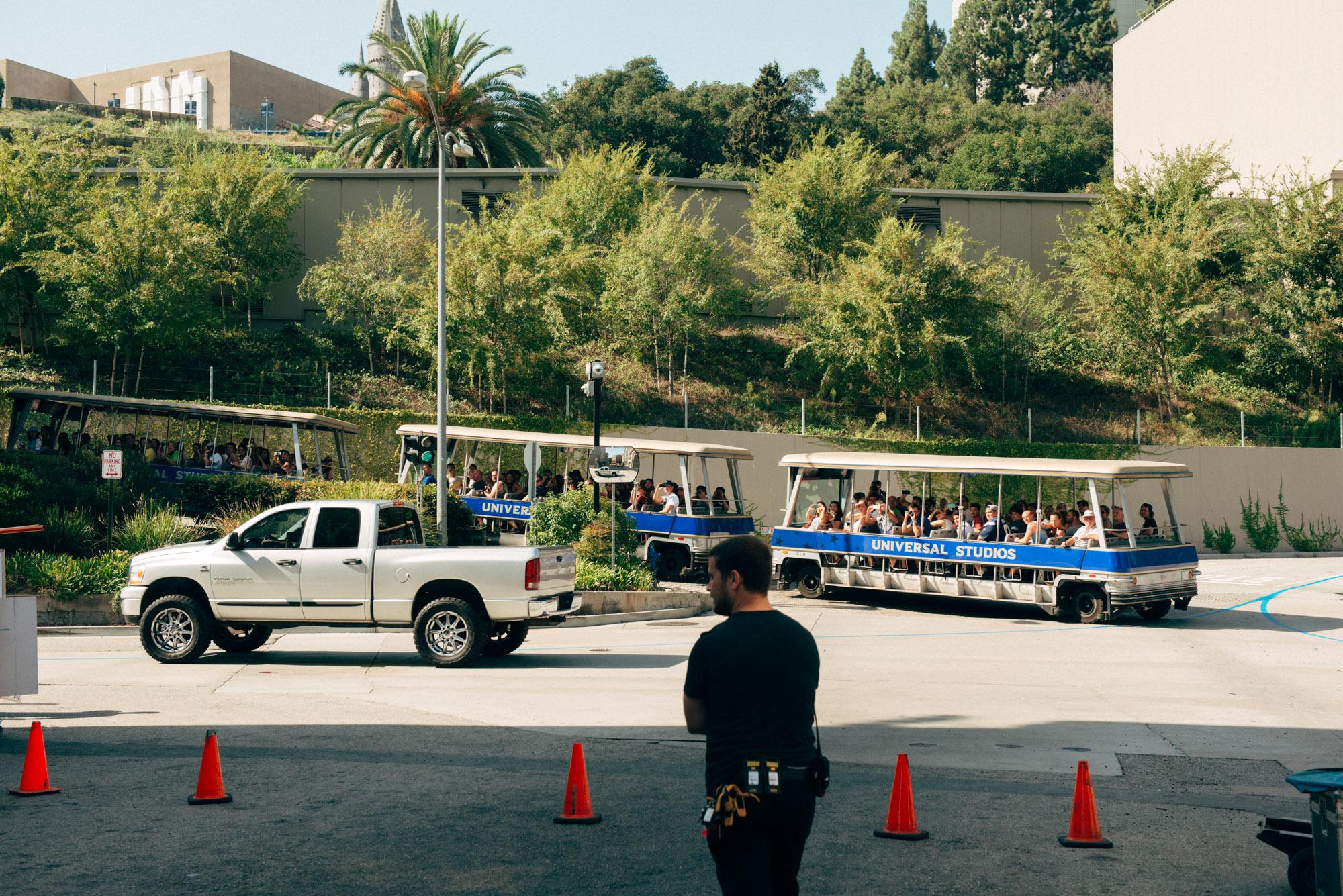 Universal Studios tour passing our set