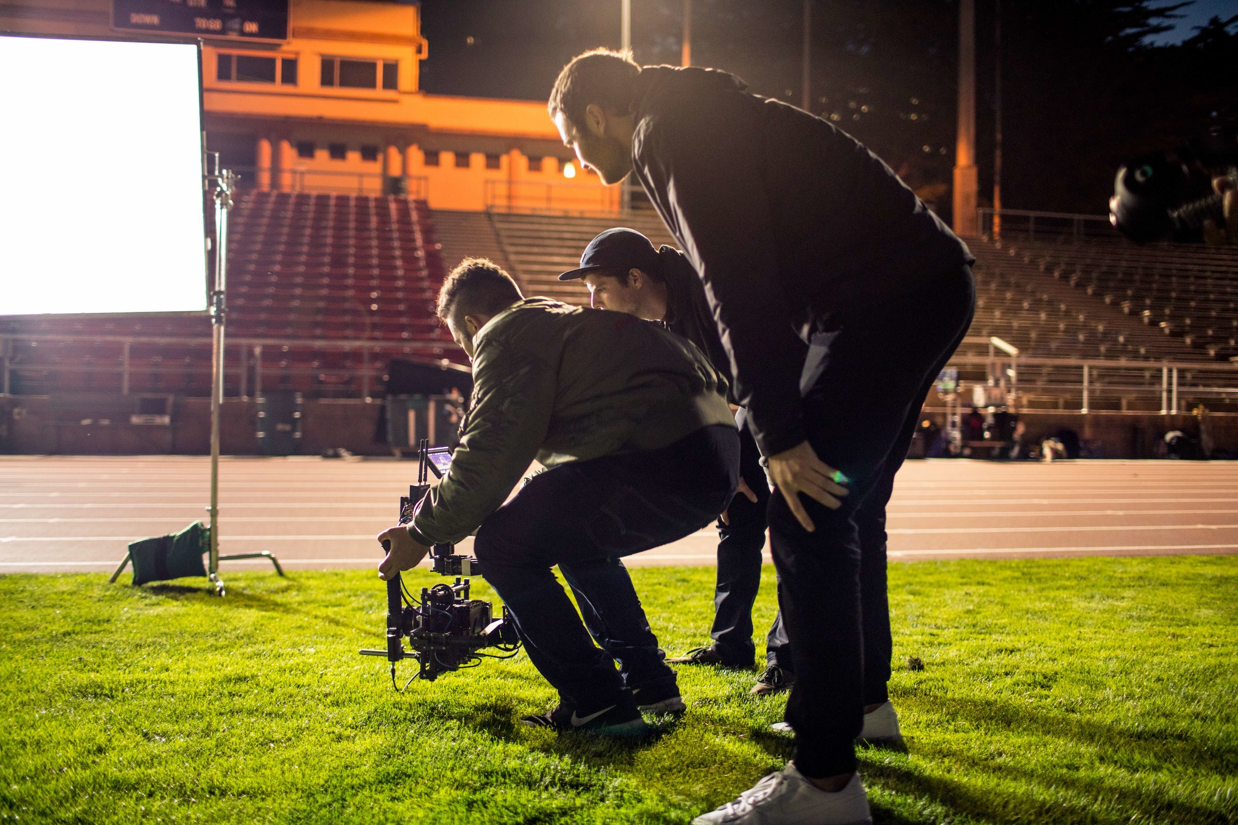 Low angle push in with the movi