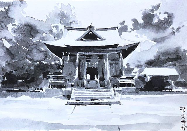 Jindaiji 深大寺 temple, next to Nao's childhood house. Very peaceful place, 2nd oldest temple in Tokyo after sensoji 浅草寺. . . . #temple #tokyo #vacationpics #ink #sumi #jindaji #chofu #painting #drawing #inktober #inktober2018 #pleinairpainting #sunnyday