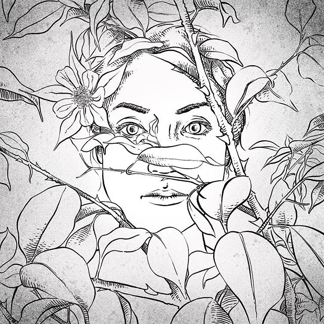 First post for Inktober!!! Portrait of lovely Nao hidden in foliage... . . . . #inktober #procreateinktober #procreate #ink #illustration #procreateapp #procreateart #drawing #painting #inktober2018 #creative #artist #doodles #art #poison #poisonous #houseplant