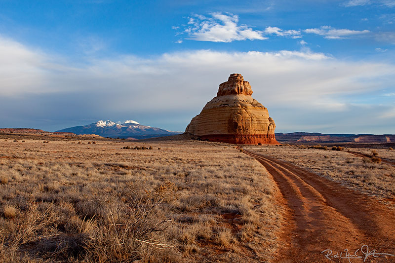 Beehive Rock, south of Moab, UT.  La Sal Mountains in the distance.