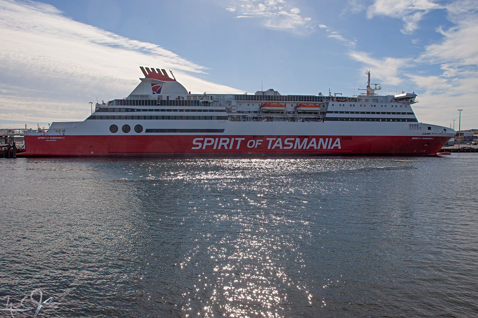 """Spirit of Tasmania II"" alongside the pier after arriving in Devonport."