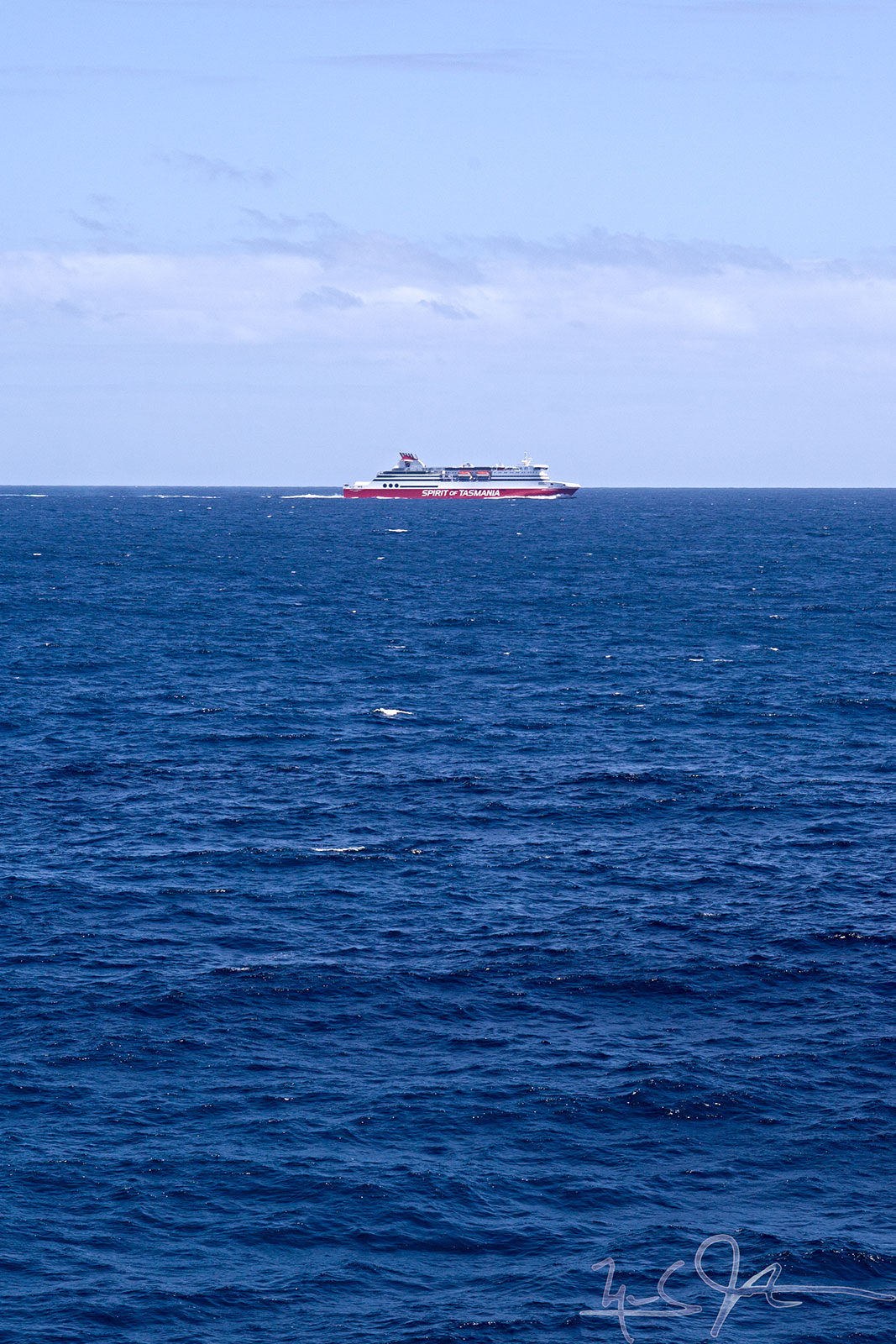 """Spirit of Tasmania I"" inbound to Melbourne from Devonport passes by us about an hour and a half after we enter Bass Strait."